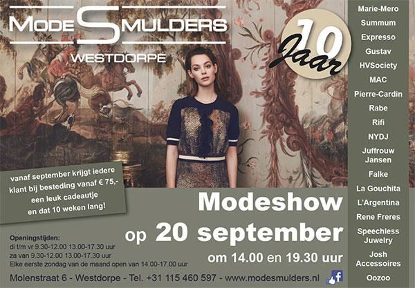 Modeshow 20 september bij Mode Smulders