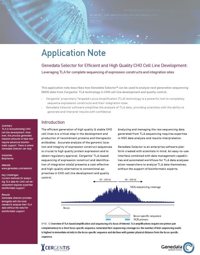 Application note on Genedata Selector for Efficient and High Quality CHO Cell Line Development - Leveraging TLA for complete sequencing of expression constructs and integration sites